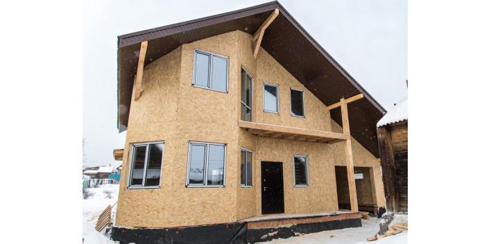 Двухэтажный жилой дом с балконом и гаражом на 227 кв.м.